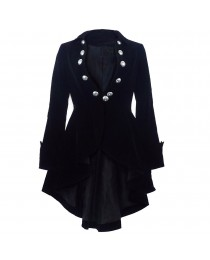 Women Black NEW Velvet Wine Waterfall Gothic Victorian Ruffle High-Low Jacket