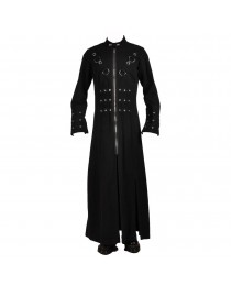 Mens Black Hell Raiser Goth Punk Pinhead Vampire Coat Mens Gothic Trench Coat