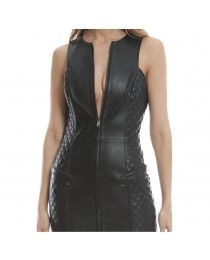 Women Genuine Leather Sexy Black Zip Front Dress Quilted leather Mini Sleeveless Dress