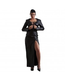 Honour Women Vampy Sexy Leather Dress Black with Collar Laced Neckline