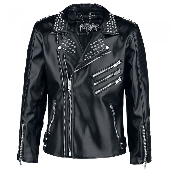 Men Gothic Black Studded Biker Jacket