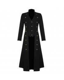 Men Black Twill Steampunk Jacket Goth Victorian/Military Style Cotton Trench Coat