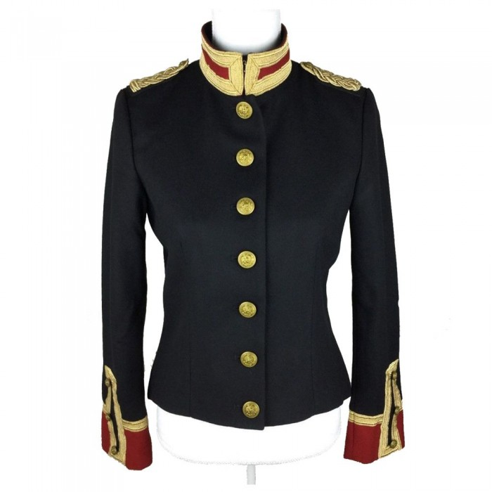 Women Gothic Military Style Wool Jacket Double Breasted Army Officer Band Coat Trench Jacket Slim Fit     2020