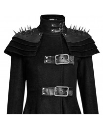 Gothic Killers Women Rivets Shoulder Stand Up Collar Asymmetrical Long Coat     2020
