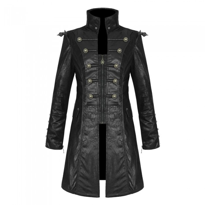 Men Steampunk Military Coat Black Goth Faux Leather Military Jacket Coat