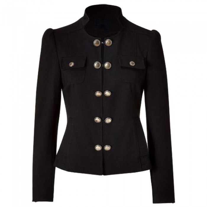 Women Military Blazer Jacket With Brass Buttons Adult French Military Uniform     2020