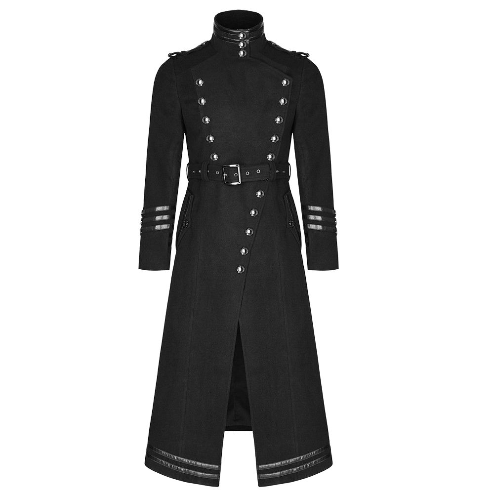 Punk Rave Poison Steampunk Military Gothic Long Trench Leather Coat XXS-5XL