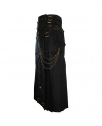 Long Black Gothic Cotton Utility Kilt Steampunk Design Leather Straps & Chains