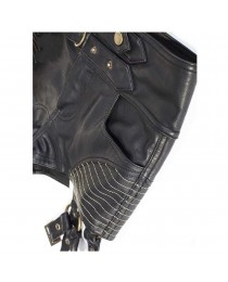Women's Black Steampunk High Waist Shorts Leather Blitzkrieg Short Pants