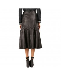 Women Leather Skirts Designer Calf Below Knee Length Long Skirt Mini Skirt
