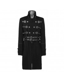 Mens Black Double Breasted Belted Gothic Buckle Coat Fashion Trench Coat