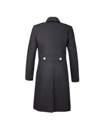 Mens Gothic Overcoat Military Double Breasted Wool Mens Trench Coat