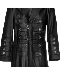 Mens Gothic Military Steampunk Leather Gothic Trench Coat Mens