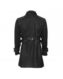 Men Black Gothic Car Coat with Stand Collar Gothic Trench Wool Coat