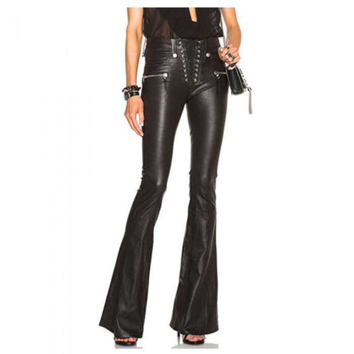Women's Gothic Punk Wind Wide Leg PU Leather Pant Flared Trousers Women Pants Fashion Trousers