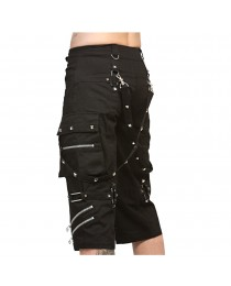 Gothic Metallic Shorts With Metal Decorations
