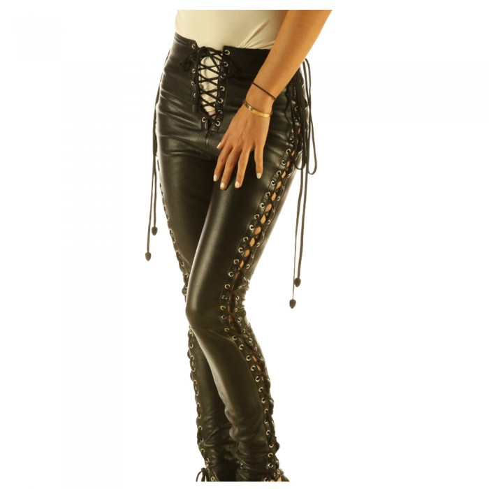 Women Real Leather Snug Fit Sexy Leggings Skinny Fit Lace Gothic Pant