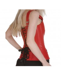 Women Bustier Overbust Corset Red Steel Bone Lace Up