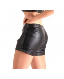 Women Leather Lace Up Shorts