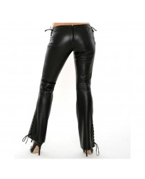 Women Fetish Lace Up Side Waist Pants