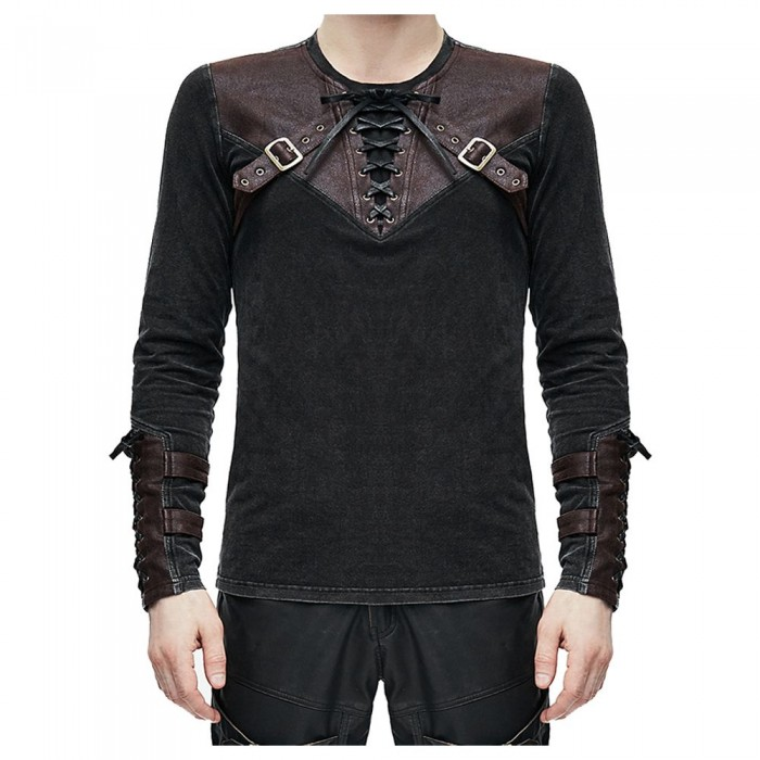 Men Devil Fashion Metal Studs Mens Steampunk Engineer Top