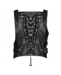 Artillery Dieselpunk Faux Leather Vest Black