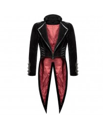 Men Black Velvet Gothic Bloodrayne Tailcoat