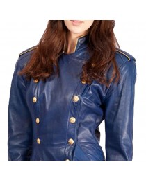 Blue Leather Long Coat For Women Gothic Style Jacket     2020