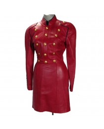 Women Red Leather Long Coat Victorian Style Celebrity Gothic Leather Coat