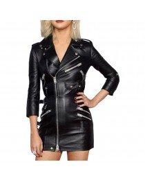 Women Black Genuine Leather Coat