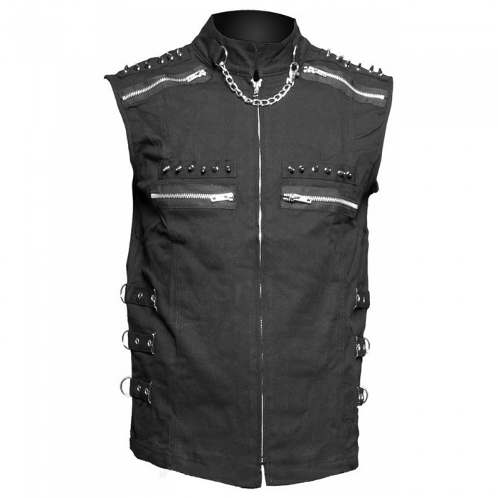 Men Black Sleeveless Shirt