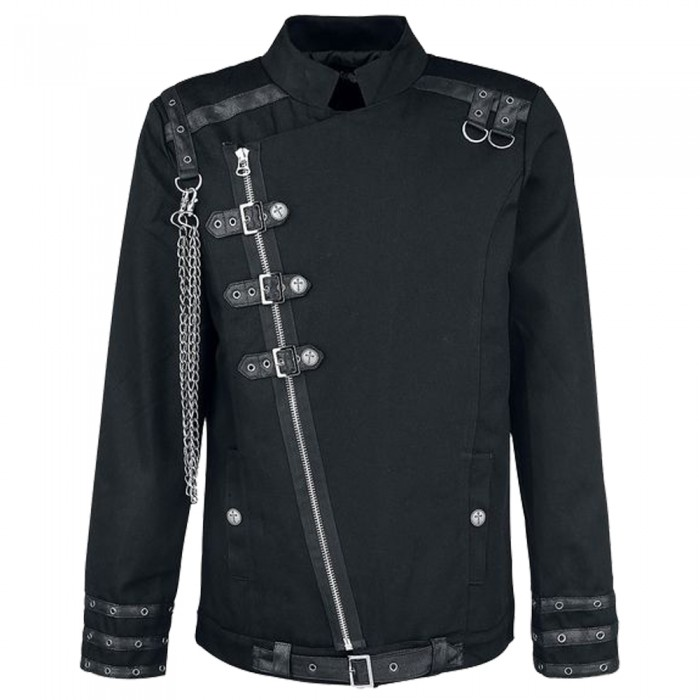 Men Black Gothic Shirt With Chain