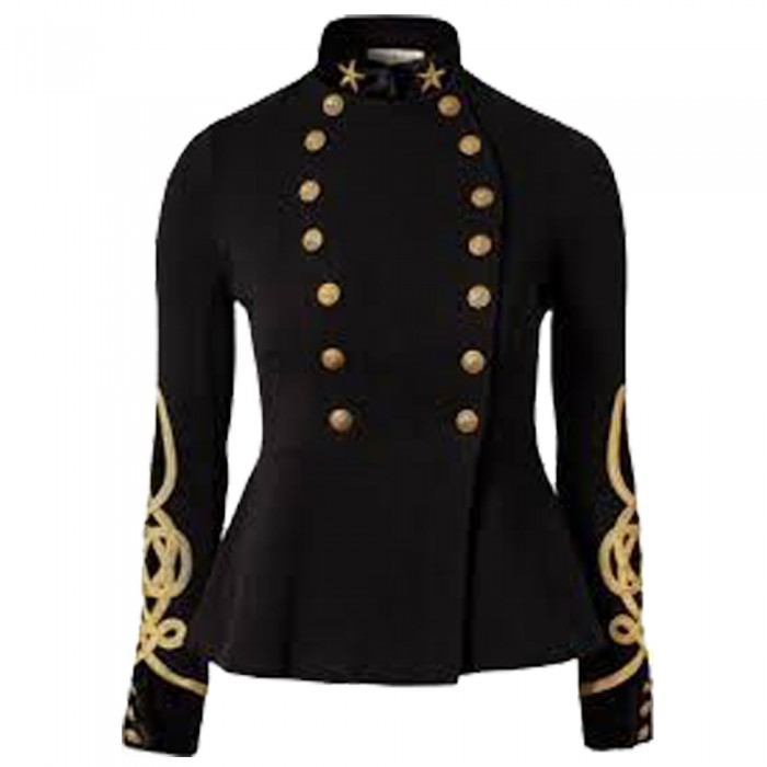 Military Goth Steampunk Victorian Black Trench Coat Jacket For Women     2020