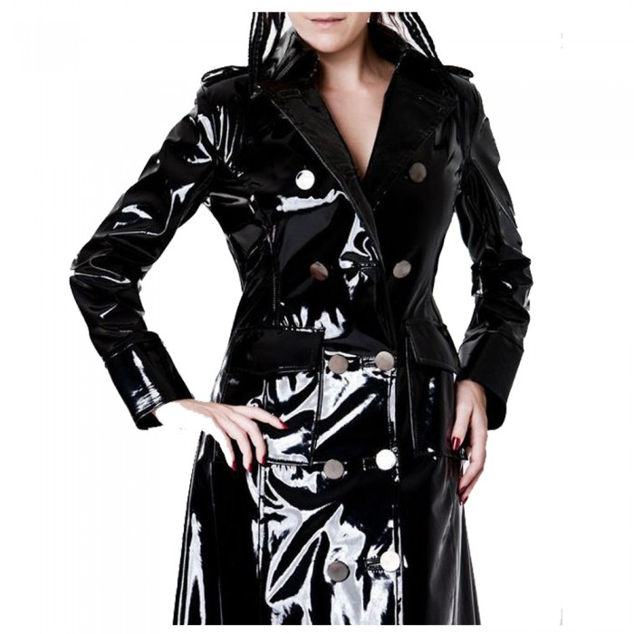 Punk Rave Shiny Elastic PU jacket Slim-Fitted Fetish Extreme Gothic Coat