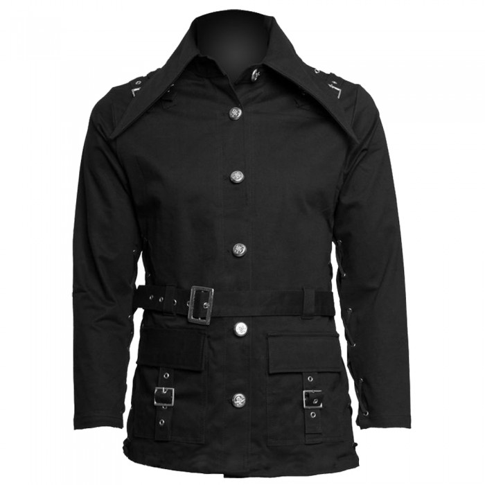 Women Gothic Black Buckle Style Coat