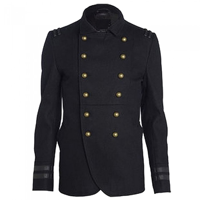 Men Wool Military Style Goth Coat     2021