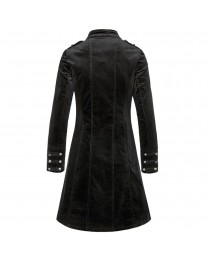 Womens Gothic Velvet Black Slim Fitted Coat Womens Vintage Fashion Coat