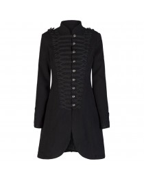 Ladies Military Style Coat Black Wool Victorian Style Braided Effect Coat