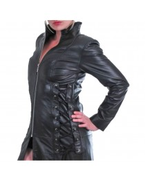 Women Gothic Steampunk Genuine Leather Coat Military Style Trench Goth Coat     2020
