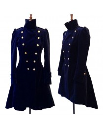 Blue Velvet Coat Double Breasted Frock Women Gothic Velvet Coat