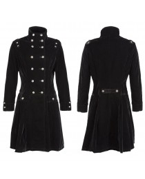 Women Gothic Long Coat Jacket Velvet Steampunk Aristocrat Alternative Fashion Style Velvet Black Coat