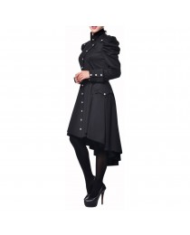 Women Gothic Victorian Style Trench Coat VTG Women Regiment Jacket     2020