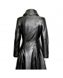 Women Gothic Vampire Black With RED LINING Goth Full Length Rock star Leather Trench Coat coat
