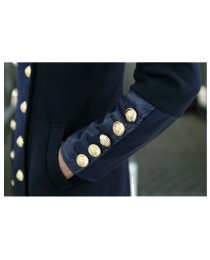 Womens British Style Slim Fit Wool Blend Trench Double Breasted Long Jacket Military Coat