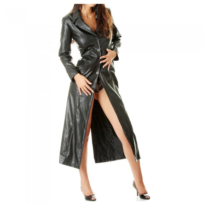 Women Sexy Ladies Pure Butter Soft Leather Full Length Trench Coat