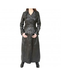 Womens Gothic Long Black Leather Coat Full Length Double Breasted Trench Jacket