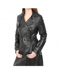 Women Gothic Long Black Leather Coat Full Length Double Breasted Trench Jacket Discount