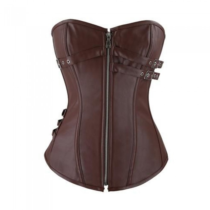 Women Brown Leather Corset OverBust Corset