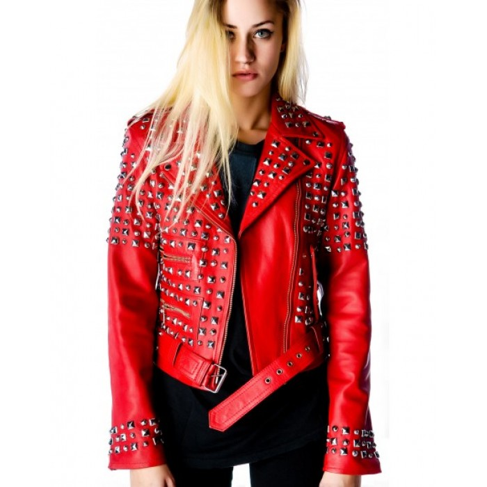 Women Red Color Leather Jacket Silver Studded Genuine Leather Jacket