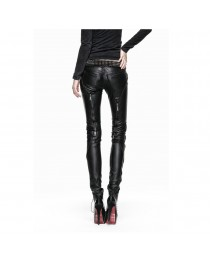 Punk Rave Syren Faux Leather Pants Skinny Jeans Black Zip Gothic Fetish Trousers